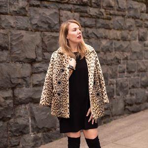 Zara black split cape sleeve shift dress M